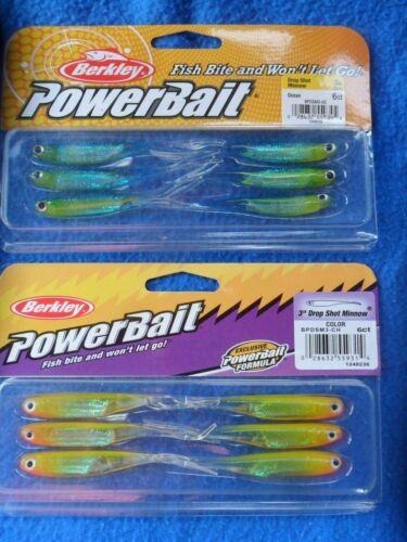 "2 x Berkley PowerBait DropShot Minnow 3/"" Chartreuse /& Ocean Soft Lure Fishing"