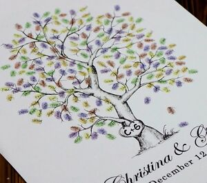 Custom Thumbprint Fingerprint Tree Wedding Guest Book Guestbook ...