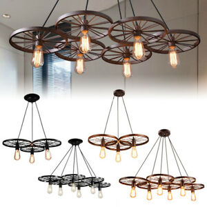 Wagon Wheel Chandelier Hanging Light Fixture Ceiling Pendant Kitchen Bar Decor