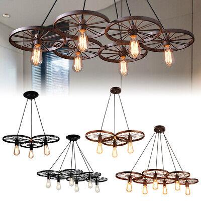 Wagon Wheel Chandelier Rustic Hanging Light Fixture Ceiling Pendant Kitchen Bar Ebay