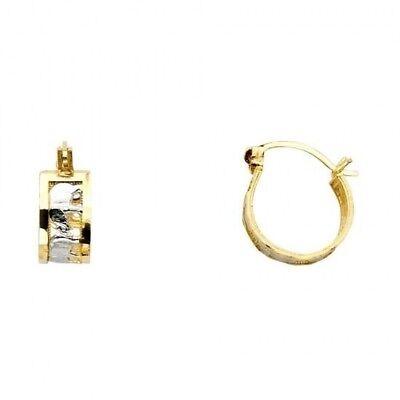 14K Solid Two Tone Yellow White Italian Gold Elephant Hoop Earrings 11MM