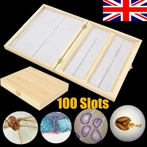 100 Slots Wooden Microscope Glass Slides Case Box Holder Storage Specimen UK 6930402139487