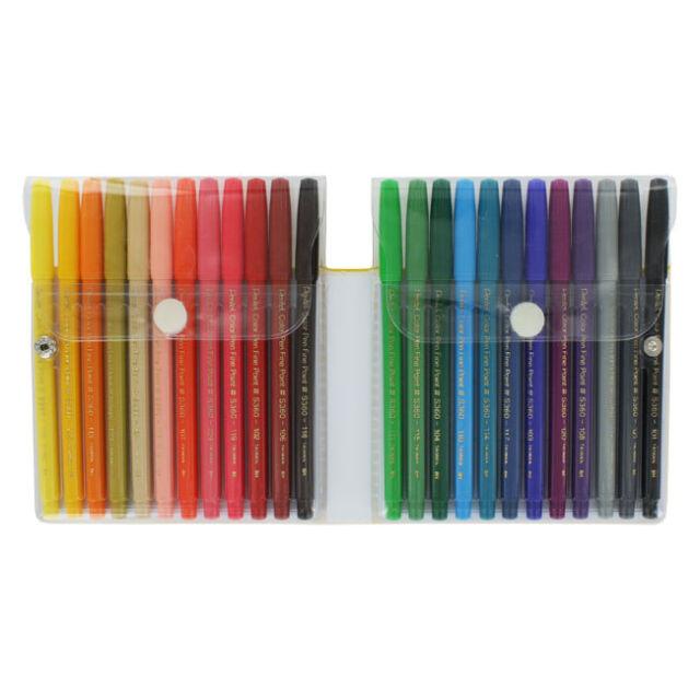 24 Pentel Fine Point Color Pen Set, 24 Assorted Colors