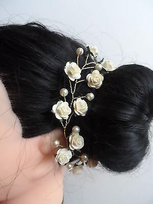 Hair Vine Cream Roses Flowers Pearl Wedding Tiara Crown Prom Bun Ring Garland