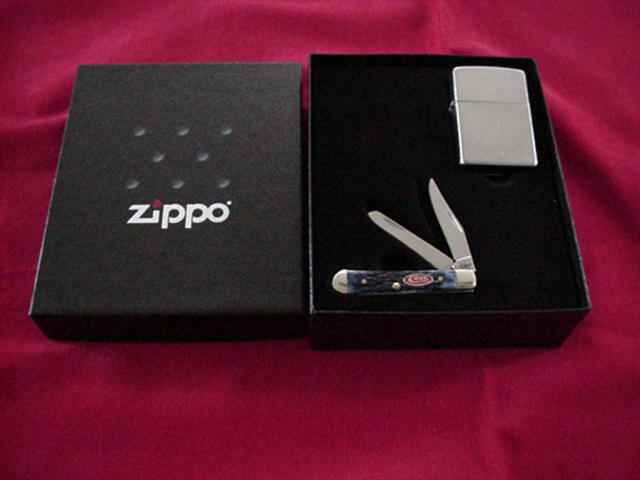 Zippo Street Chrome Lighter with CASE  XX Tested Tiny Trapper Knife  NEW  official quality