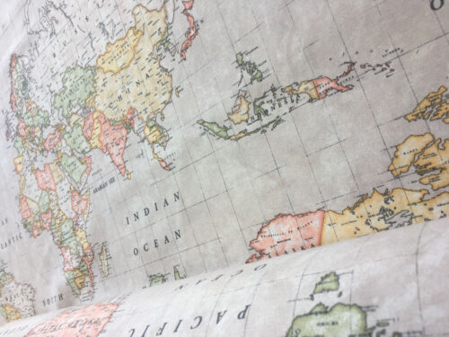 BEIGE WORLD MAP 3 Vintage Atlas Curtain Upholstery Cotton Material 280cm wide