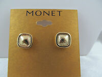 Monet Gold Square Button Style Earrings, Textured Design, Signed, Shiny