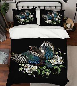 3D Blue Bird ZHUA223 Bed Pillowcases Quilt Duvet Cover Set Queen King Zoe