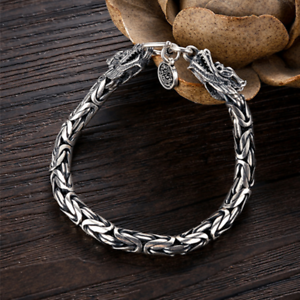 925-Sterling-Silver-Handmade-Bracelet-Byzantine-Chain-Dragon-Clasp-Jewelry-4MM