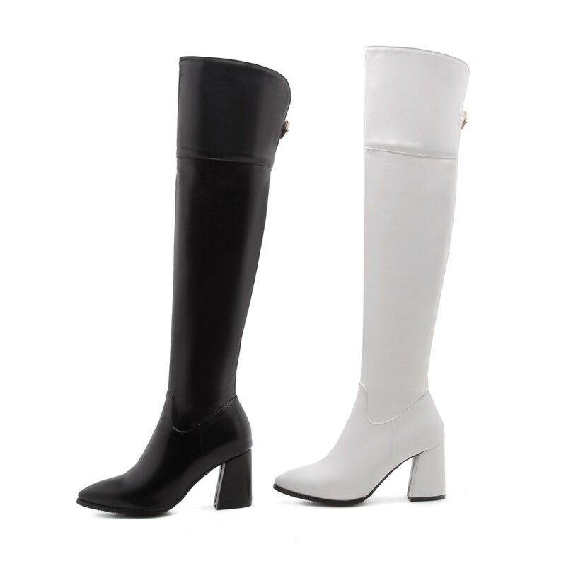 Womens Fashion Sexy Pointy Toe Block High Heels Side Zipper Over Knee High Boots
