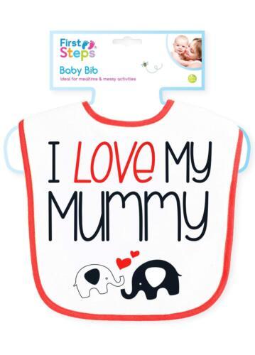 First Steps I Love Mummy I Love Daddy Bavoir Bébé Bébés Spill Proof Alimentation
