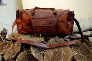 Image is loading New-24-Inch-Brown-Vintage-Genuine-Leather-Cowhide- 8476b7cb9e357