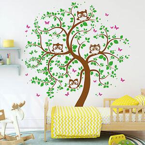 Eulen-Baum-Schmetterlinge-3farbig-126x148-von-Wandtattoo-Loft-10394-Eule-Owl