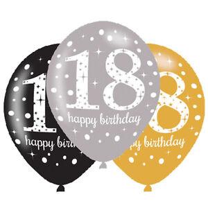 Détails Sur 6 X 18ème Ballons Anniversaire Noir Argent Or Décoration De Fête âge 18 Ans