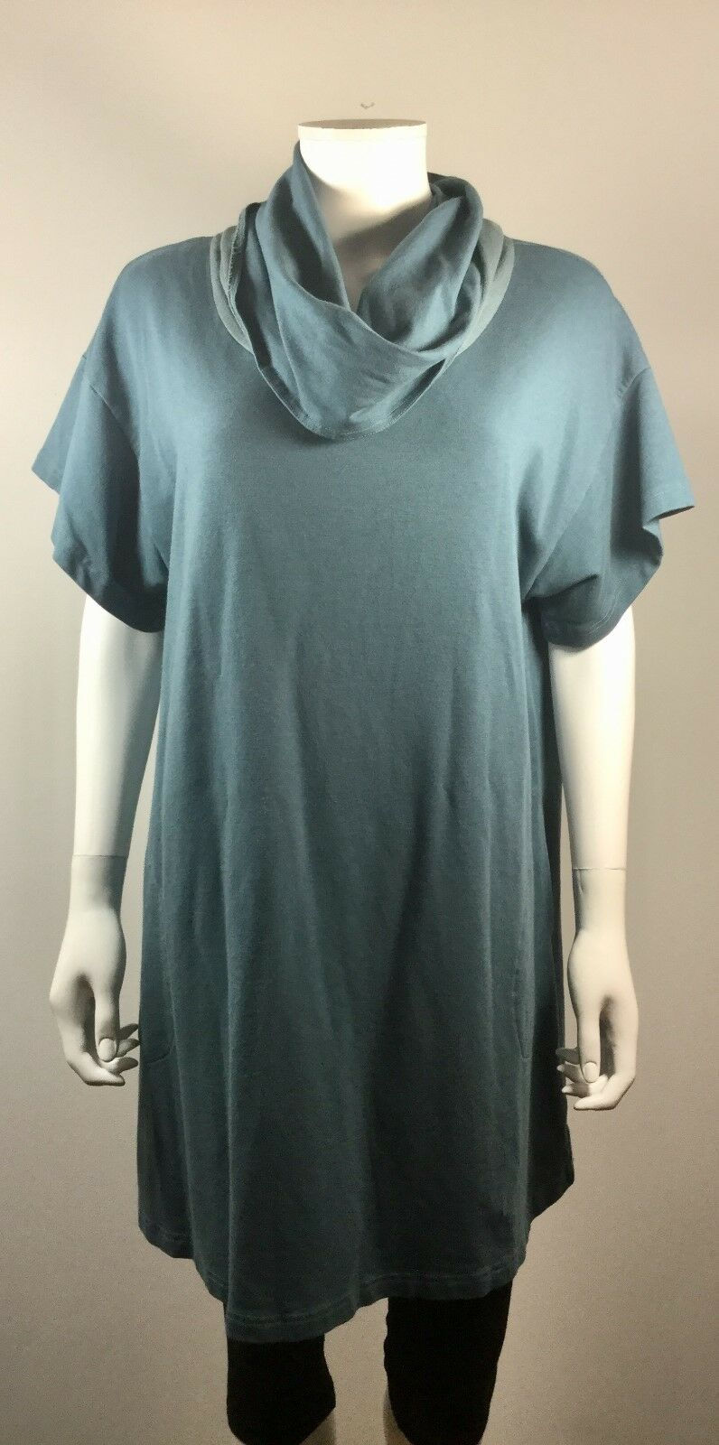 BRYN WALKER Blau Cowl Neck Short Sleeve Tunic Dress Größe Medium
