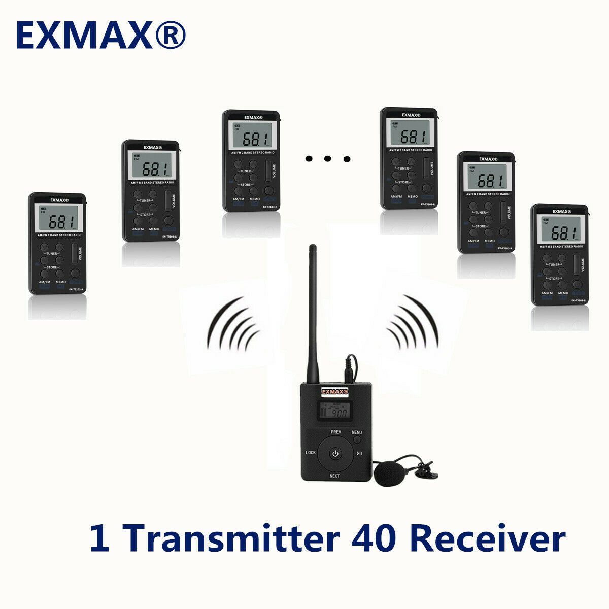 EXMAX Wireless Microphone System For Church Training Simultaneous Interpretation
