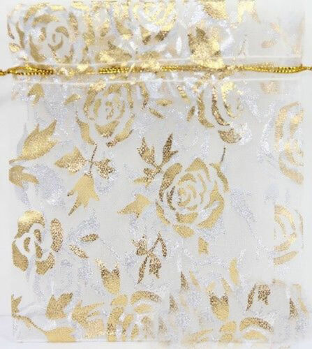 Lots 50//100Pc Rose/&Gold Organza Party Wedding Favor Candy Gift Bag Pouches 9X7CM