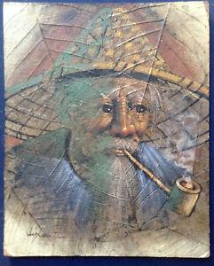Tableau-ancien-Portrait-d-039-Homme-Vietnamien-fumant-la-pipe-Huile-signee