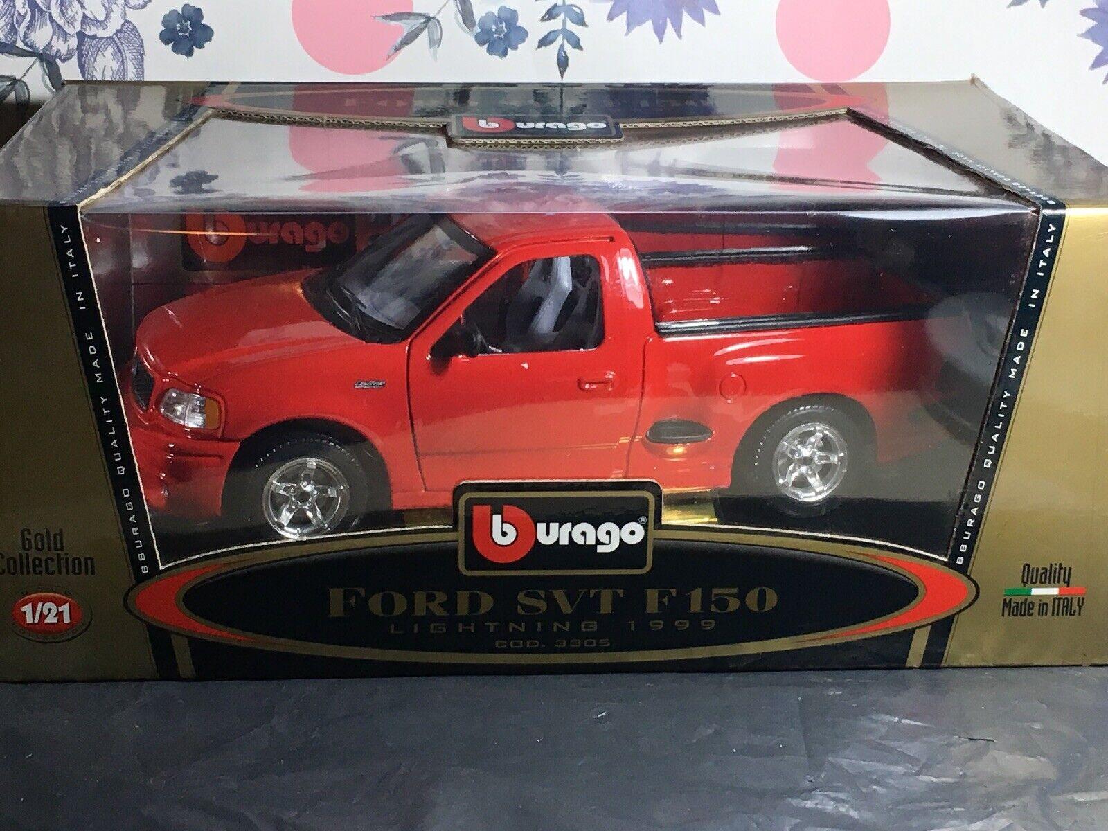 BURAGO FORD SVT F150 rouge lumièreNING 1999 1  21 SCALE 3305 BNIB or COLLECTION  tous les produits sont spéciaux