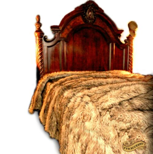 FUR ACCENTS Faux Fur Bedspread Light Wolf Fur All Sizes