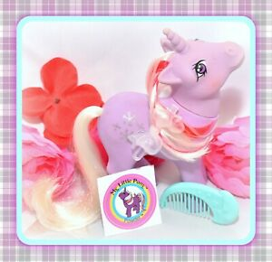 My-Little-Pony-MLP-G1-Vtg-1984-Unicorn-POWDER-Snowflake-Original-Moon-COMB