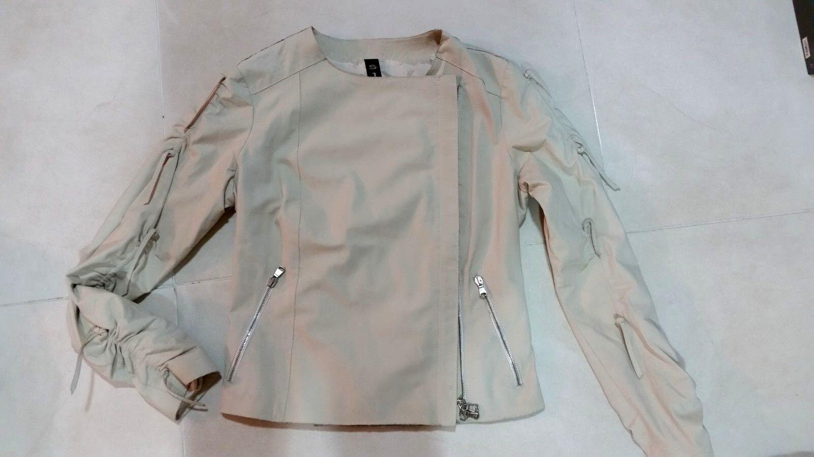 Pre-Owned S PH Pour Femme Doux Cuir Véritable Veste Taille S made in  Blanc
