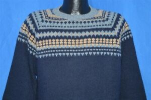 Vintage 80/'s Blue and Navy Diamond Knit Sweater
