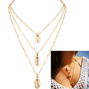 3-Layer-Women-Boho-Simple-Gold-Chain-Shell-Pendant-Choker-Necklace-Party-Jewelry