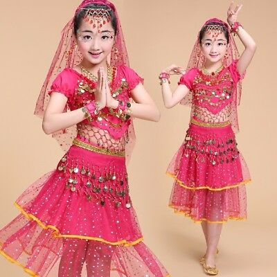 Girls Kids Indian Belly Dance Costume Outfit Top Pants Set Bollywood Halloween