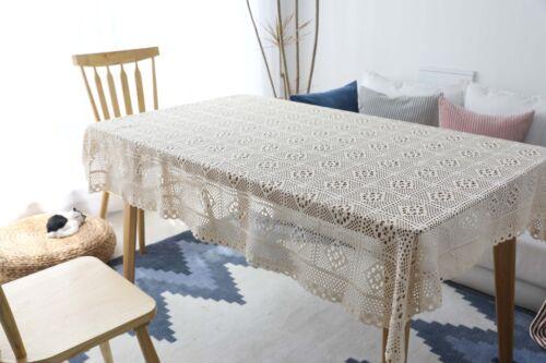 Crochet Tricot en Coton Fleuri Nappe Vintage Handmade Beige Toile de fond