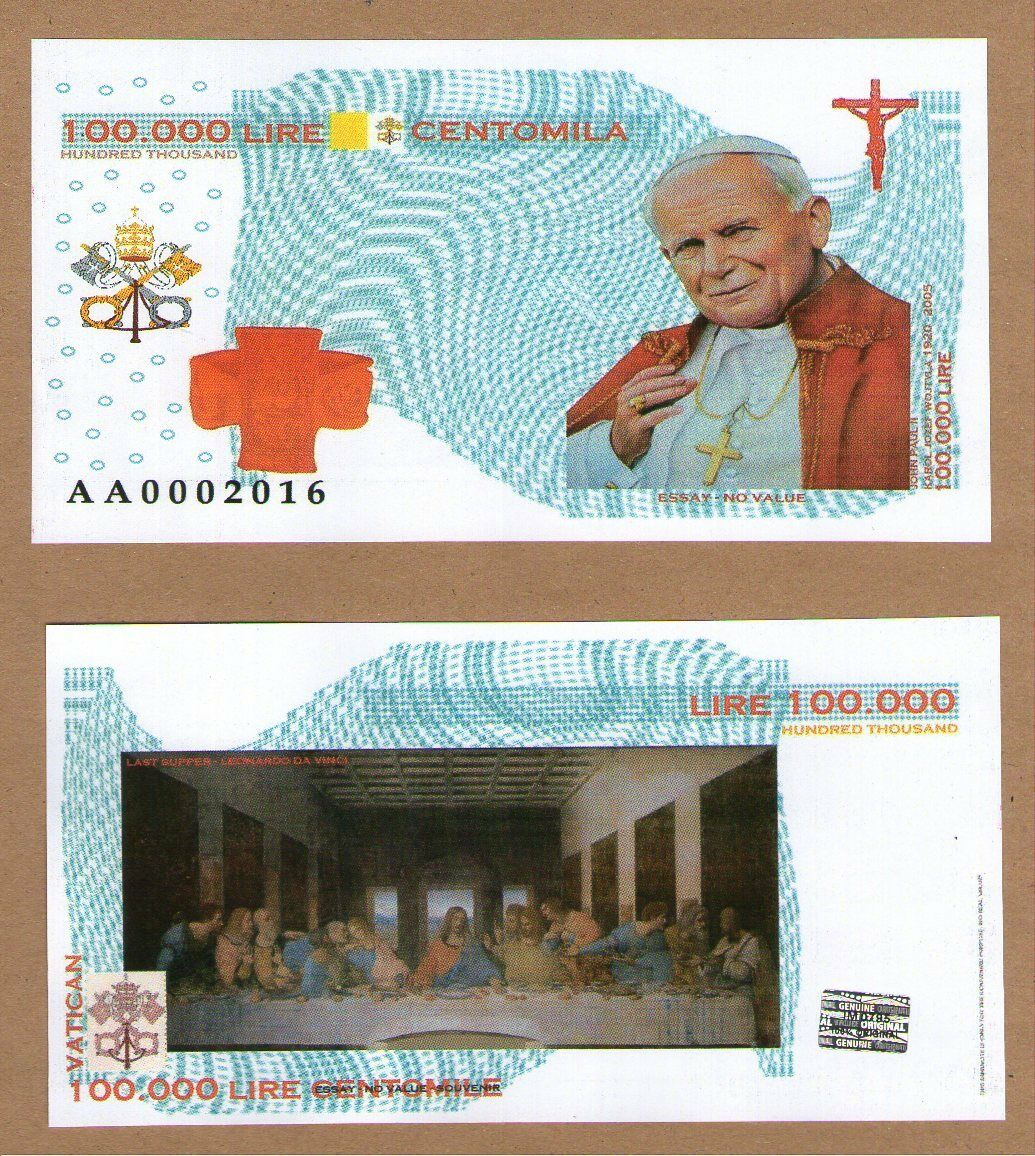 VATICAN Private Issue 10 000 LIRE 2016 .G - hologram UNC