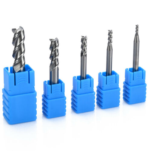 5pcs 3 Flute HRC50 Solid Carbide End Mill Cutter 2mm-8mm Silver for Alloy Steel