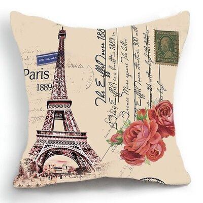 Retro Vintage Paris Effiel Tower Rose Home Pillow Case Cushion Cover 18''