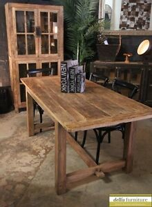 Image Is Loading New Rustic Recycled Elm Timber Farmhouse Dining Table