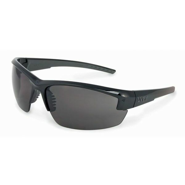 Uvex Mercury Safety Glasses with Smoke Lens, Black Frame