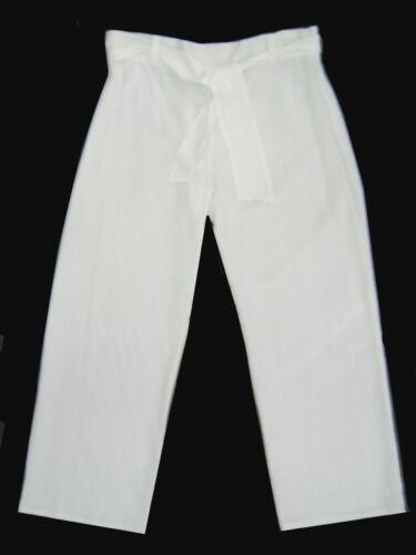 Donna NUOVI 16-26 Rosso Misto Lino Pantaloni Gamba Dritta Larga Cintura rimovibile