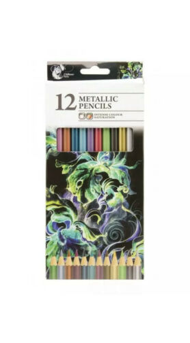 12 Pack Of Metallic Pencils Drawing Painting Children Art Artist Fast Free Post