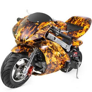 Gas-Pocket-Super-Mini-Bike-Motorcycle-Kids-40cc-4-Stroke-Engine-Yellow-Flame