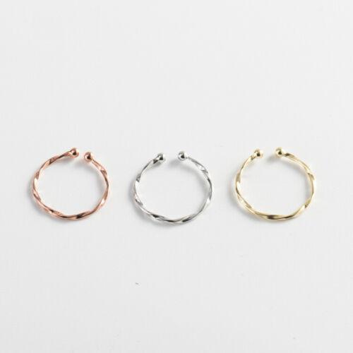 Schmaler Damen Ring echt Sterling Silber 925 Kugel Twist Verdrehte offen