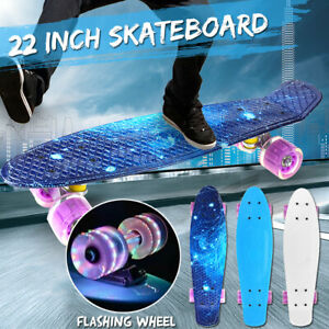 22-039-039-Skateboard-Cruiser-Fish-Board-Skate-Beginner-Chrome-Bearing-Flashing-Wheel