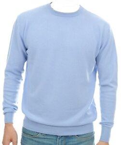 in L 100 da girocollo cielo uomo cashmere blu Pullover cashmere XS6wpX
