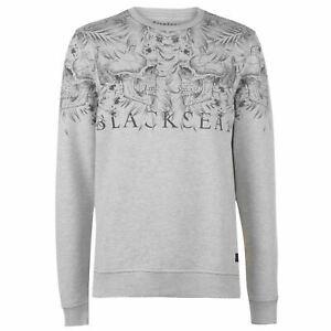 Mens-Firetrap-Blackseal-Skull-Leaf-Crew-Sweater-Long-Sleeve-New