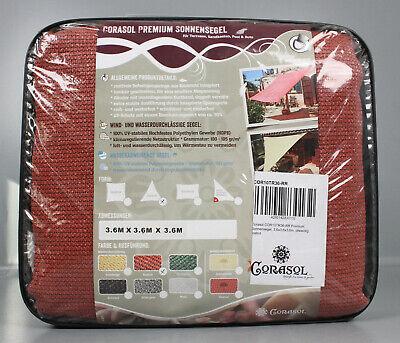 Corasol Premium Vela Parasole 3,6 X 3,6 X 3,6m Triangolo Rostrot Pensata Ls9-36-