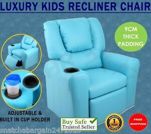 Image Is Loading Kids Room Luxury Padded PU Leather Recliner Arm