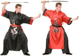 Details about ADULT JAPANESE SAMURAI WARRIOR KUNG FU NINJA DRAGON MASTER  COSTUME BLACK RED