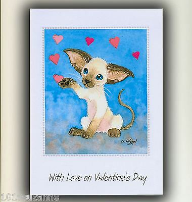 LARGE SIAMESE CAT ART GLITTERY HEART PAINTING VALENTINES CARD SUZANNE LE GOOD