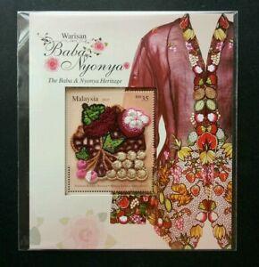 SJ-Baba-Nyonya-Heritage-Malaysia-2013-Costume-ms-MNH-embroidered-unusual