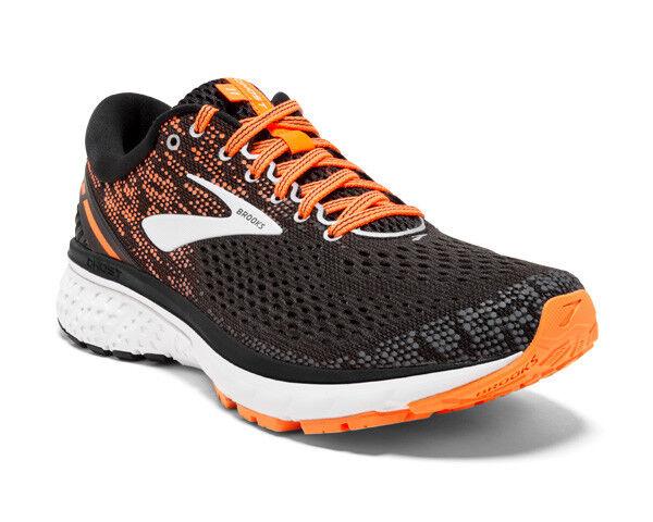 nuevo  para hombres Brooks Ghost 11 Correr Entrenamiento Calzado Negro plata naranja-Ancho