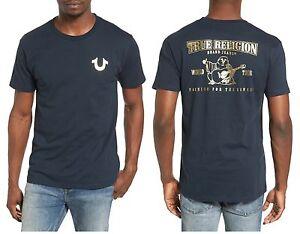 True Religion Brand Jean Men's Slim Fit Gold Print logo Vintage Shirt Tee Navy
