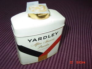 Vintage Yardley After Shower Body Face Powder Tin Near Full Used 5 ounces 1970's